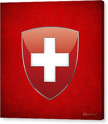Suisse Canvas Print - Coat Of Arms And Flag Of Switzerland by Serge Averbukh