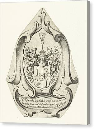 Coat Of Arms Of The Family De Graeff, Johannes Lutma Canvas Print by Johannes Lutma I And Anonymous