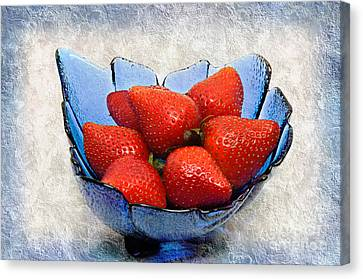 Cobalt Blue Berry Boat Canvas Print by Andee Design