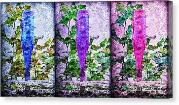 Cobalt Blue Purple And Magenta Bottles Collage Canvas Print by Andee Design