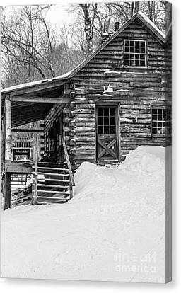 Slayton Pasture Cobber Cabin Trapp Family Lodge Stowe Vermont Canvas Print by Edward Fielding