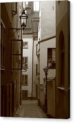 Cobbled Medieval Street - Monochrome Canvas Print