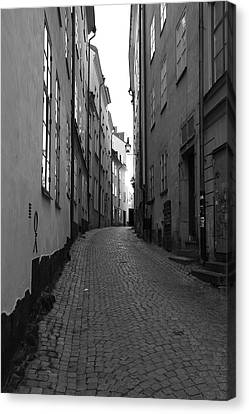 Cobbled Street - Monochrome Canvas Print by Ulrich Kunst And Bettina Scheidulin