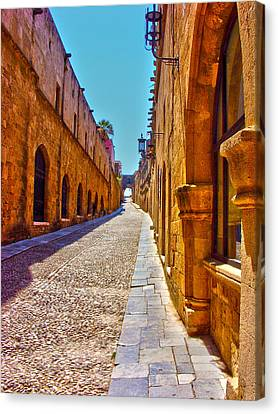 Rhodes Cobbled Street Canvas Print by Scott Carruthers