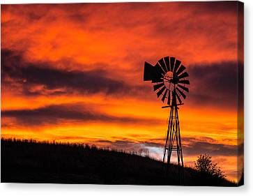 Cobblestone Windmill At Sunset Canvas Print