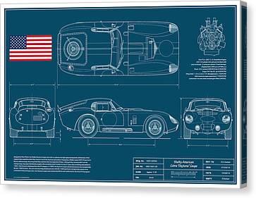 Cobra Daytona Coupe Blueplanprint Canvas Print by Douglas Switzer