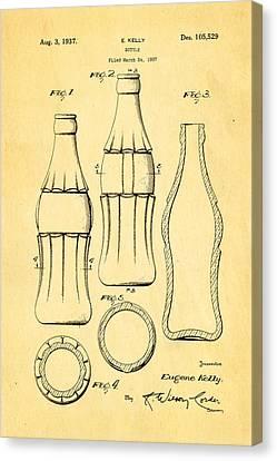 Coca Cola Bottle Patent Art 1937 Canvas Print by Ian Monk