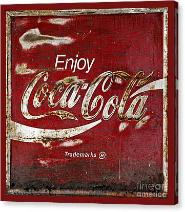 Coca Cola Red Grunge Sign Canvas Print by John Stephens