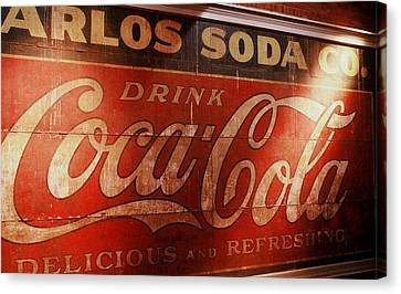 Canvas Print featuring the photograph Coca Cola Sign by Rodney Lee Williams