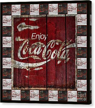 Coca Cola Sign With Little Cokes Border Canvas Print by John Stephens