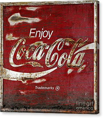 Coca Cola Wood Grunge Sign Canvas Print by John Stephens