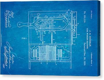 Washing Machine Canvas Print - Cochran Dish Washing Machine Patent Art 1886 Blueprint by Ian Monk