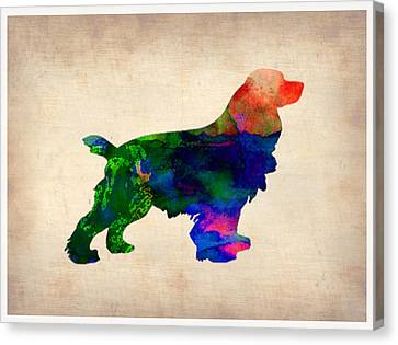 Cocker Spaniel Watercolor Canvas Print by Naxart Studio