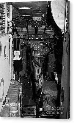 cockpit of the British Airways Concorde exhibit at the Intrepid Sea Air Space Museum Canvas Print by Joe Fox