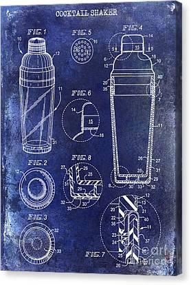 Cocktail Shaker Patent Drawing Blue Canvas Print by Jon Neidert