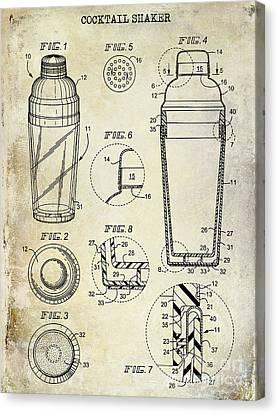 Cocktail Shaker Patent Drawing Canvas Print by Jon Neidert
