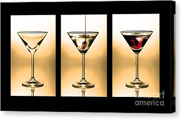 Cocktail Triptych In Gold Canvas Print by Jane Rix