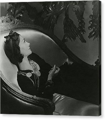 Headband Canvas Print - Coco Chanel On A Chaise Longue by Horst P. Horst