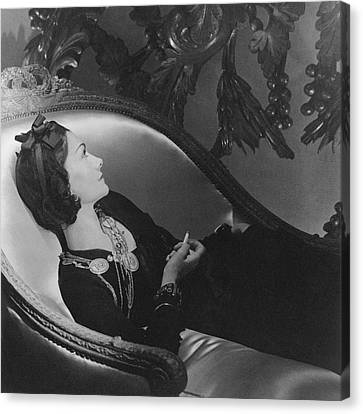 Coco Chanel Smoking Canvas Print by Horst P. Horst