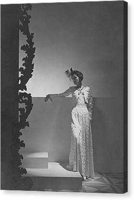 Coco Chanel Wearing A Chiffon Dress Canvas Print