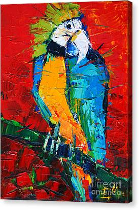 Parrots Canvas Print - Coco The Talkative Parrot by Mona Edulesco