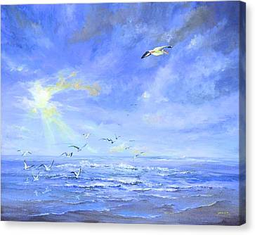 Cocoa Beach Birds Canvas Print by AnnaJo Vahle