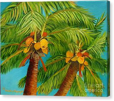 Canvas Print featuring the painting Coco's In The Keys - Key West Palm Tree With Coconuts by Shelia Kempf