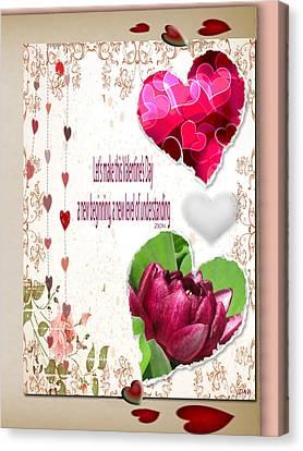 Code Of Love Card Canvas Print by Debra     Vatalaro