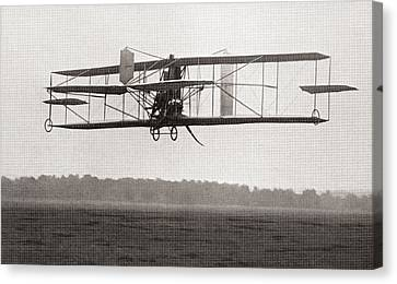 Codys Biplane In The Air In 1909 Canvas Print by American School
