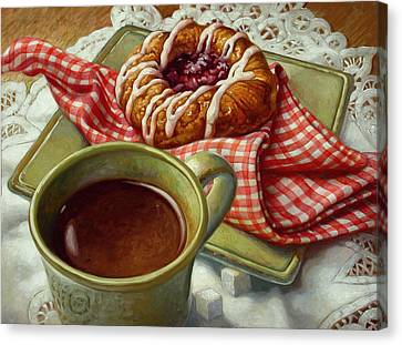 Canvas Print featuring the painting Coffee And Danish by Mia Tavonatti