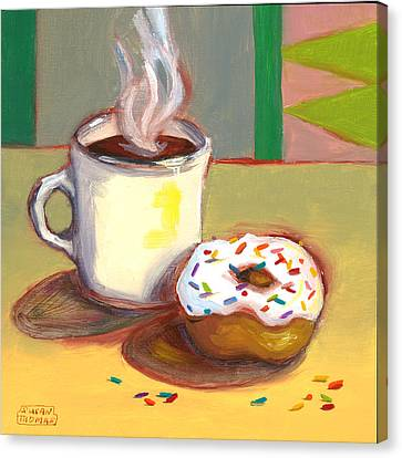 Coffee And Donut Canvas Print by Susan Thomas