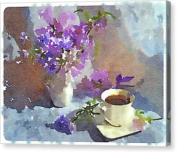Interior Still Life Canvas Print - Coffee And Flowers by Yury Malkov