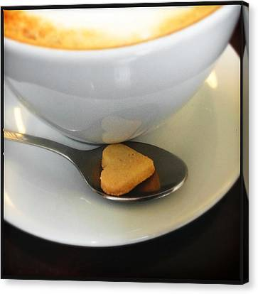Food And Beverage Canvas Print - Coffee And Heart Shaped Cookie by Matthias Hauser