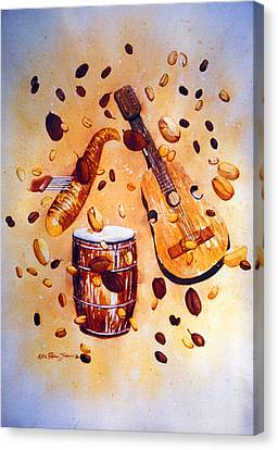 Coffee And Music Canvas Print by Estela Robles