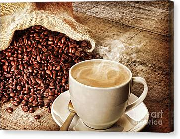 Capuccino Canvas Print - Coffee And Sack Of Coffee Beans by Colin and Linda McKie