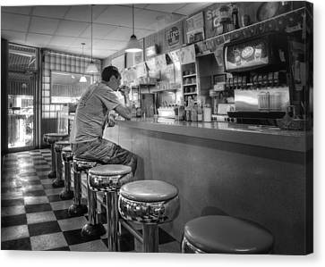 Old Diner Bar Stools Canvas Print - Coffee At Louie M's by Nikolyn McDonald