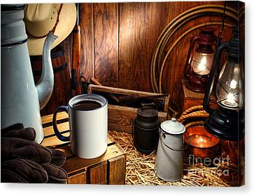 Coffee Break At The Chuck Wagon Canvas Print by Olivier Le Queinec