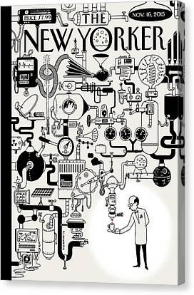 Machine Canvas Print - Coffee Break by Christoph Niemann