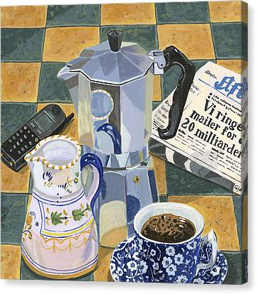 Coffee Break Canvas Print by Jane Dunn Borresen