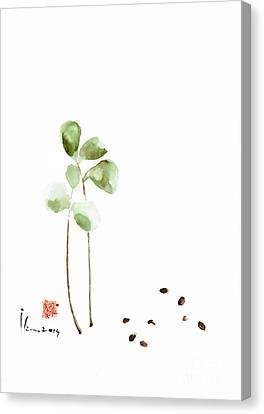 Coffee Cafe Plant And Beans Brown Green Watercolor Painting Kitchen Art Canvas Print