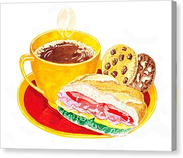 Coffee Cookies Sandwich Lunch Canvas Print