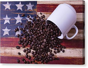 Coffee Cup On American Flag Canvas Print by Garry Gay