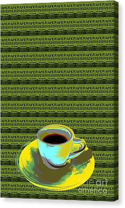 Canvas Print featuring the digital art Coffee Cup Pop Art by Jean luc Comperat
