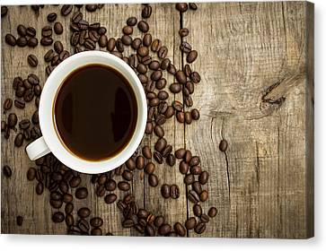 Coffee Cup With Beans Canvas Print by Aged Pixel