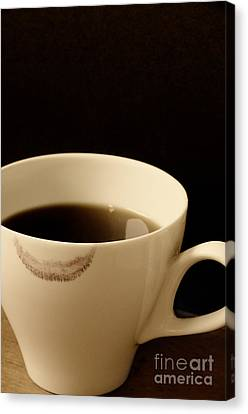 Coffee Cup With Lipstick Mark Canvas Print by Birgit Tyrrell