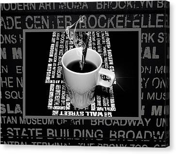Coffee Cup With Spoon Canvas Print by Tommytechno Sweden