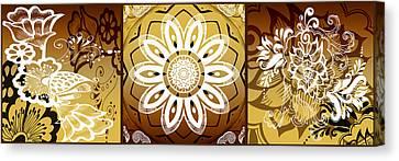 Coffee Flowers Calypso Triptych 2 Horizontal   Canvas Print by Angelina Vick