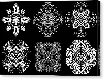Coffee Flowers Ornate Medallions Bw 6 Peice Collage Canvas Print by Angelina Vick
