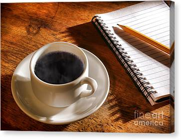 Coffee For The Writer Canvas Print by Olivier Le Queinec