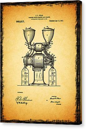 Coffee Grinder Patent 1911 Canvas Print by Mark Rogan